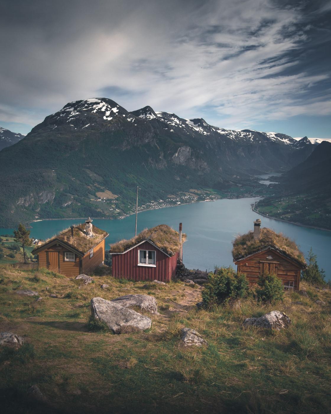 """The Three Cabins. Photo by Thomas Waerness"" stock image"