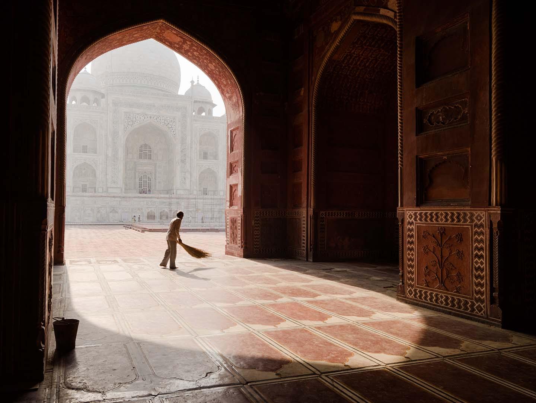 Sweeper at the Taj Mahal