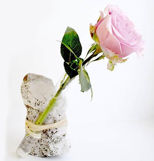 Rose mit Steinvase
