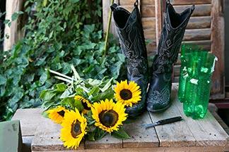 Stiefel mit Sonnenblumen