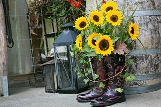 Gummistiefel mit Sonnenblumen
