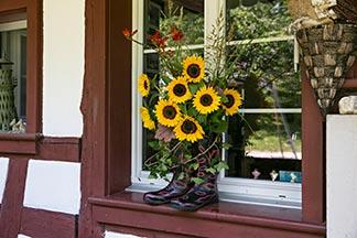 Stiefel mit Blumen auf Fenstersims