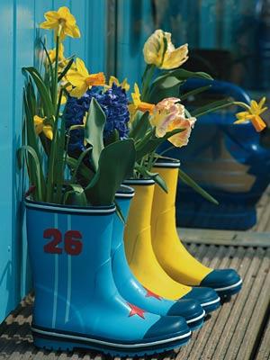 Gummistiefel mit Blumen