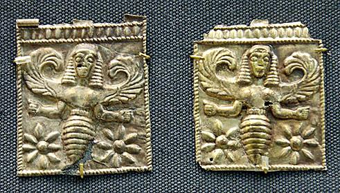 Goldene Bienenbrochen aus der Antike