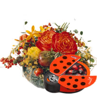 Indian Summer Arrangement (in a pumpkin) with chocolate ladybird