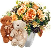 Zarter Rosenstrauss mit Teddybärenpaar (weiss & braun)