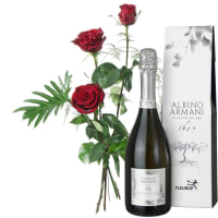 3 Red Roses with Green with Prosecco Albino Armani DOC (75cl)