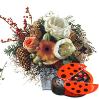 Funny Winterbouquet with chocolate ladybird