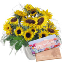 "Sunflowers Pure with bar of chocolate ""Happy Birthday"""