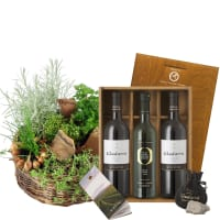 "Herb Basket (planted) with Gudarrà Gift–set ""Southern Italian Essence"""