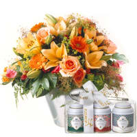 Gorgeous Bouquet of Flowers with Gottlieber tea gift set