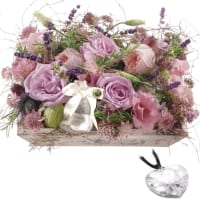 Ecrin fleuri odorant, avec cœur en cristal Swarovski®