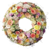 Kranz rundherum mit Blumen (Für den Friedhof)