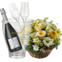 Charming Spring Basket with Prosecco Albino Armani DOC (75 cl), incl. ice bucket and two sparkling wine flutes