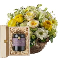 Charming Spring Basket with Swiss blossom honey