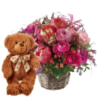Picturesque Spring Basket with teddy bear (brown)