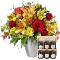 Summer Bouquet with honey gift set