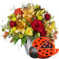 October Bouquet of the Month with chocolate ladybird