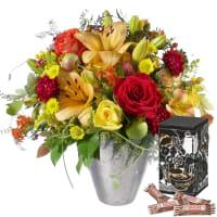 Blumenstrauss des Monats Oktober mit Minor Split in trendiger Geschenkbox
