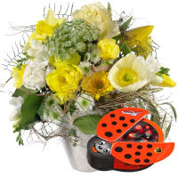 March Bouquet of the Month with Chocolate Ladybird