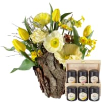 Natural Spring Magic (Arrangement) with Roses with honey gift set