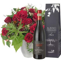 Bouquet I love you con Amarone Albino Armani DOCG (75cl)
