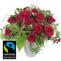 Bouquet I love you, avec roses Fairtrade Max Havelaar à grosses têtes