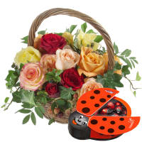 A Basket full of Happiness with chocolate ladybird