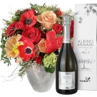 Bouquet de la Saint-Valentin avec roses rouges et prosecco Albino Armani DOC (75cl)