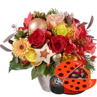 Bouquet du mois de décembre avec coccinelle en chocolat