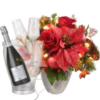 """Glowing"" Bouquet (with Christmas lights), with Prosecco Albino Armani DOC (75 cl), incl. ice bucket and two sparkling wine flutes"