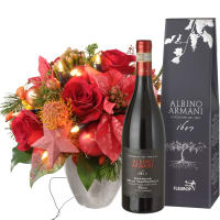 """Glowing"" Bouquet (with Christmas lights), with Amarone Albino Armani  DOCG (75cl)"