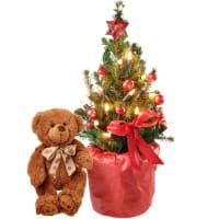 Piccolo albero di Natale con orsetto in peluche (marrone)
