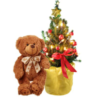 Small Christmas-Tree with teddy bear (brown)