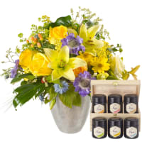 Bouquet du mois de juillet avec coffret cadeau de miel