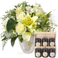 Incantesimo fiorito e set regalo con diversi tipi di miele
