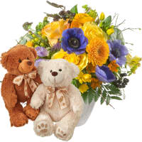 Magic of Spring with two teddy bears (white & brown)