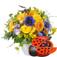April Bouquet of the Month with chocolate ladybird