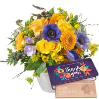 """Magia di primavera con tavoletta di cioccolato """"Thank you"""""""