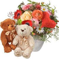 Bouquet de la Saint-Valentin avec couple d'ours en peluche (blanc & brun)
