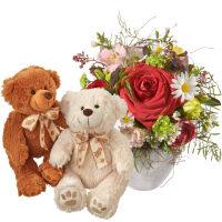 Du bist die Beste mit Teddybärenpaar (weiss & braun)