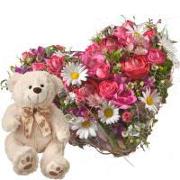 Pour mon cœur avec ours en peluche (blanc)