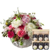 Ein Korb voll Poesie mit Rosen und Honig Geschenk-Set