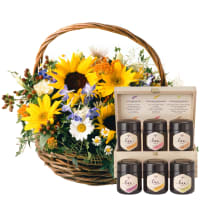 Sunflower Basket with honey gift set