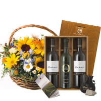 "Sunflower Basket with Gudarrà Gift–set ""Southern Italian Essence"""