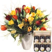 Bunter Tulpenstrauss mit Honig Geschenk-Set