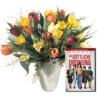 "Colorful Bouquet of Tulips with DVD ""The Divine Order"""