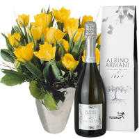 Bouquet of Tulips in Yellow with Prosecco Albino Armani DOC (75cl)