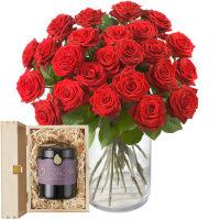 24 rote Rosen mit Schweizer Blütenhonig