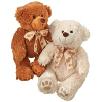 Two teddy bears (white & brown)